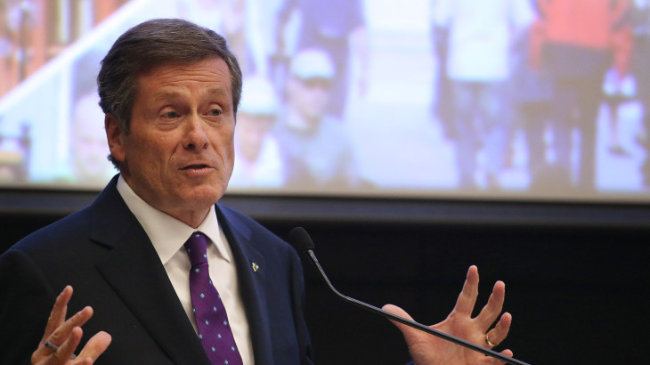 TORONTO, ON - OCTOBER 20:  John Tory debates.  Big Ideas mayoral debate hosted by Star columnist Christopher Hume and MPI's executive director Jamison Steeve at the Rotman School of Management's Desautels Hall at University of Toronto.        (Steve Russell/Toronto Star via Getty Images)
